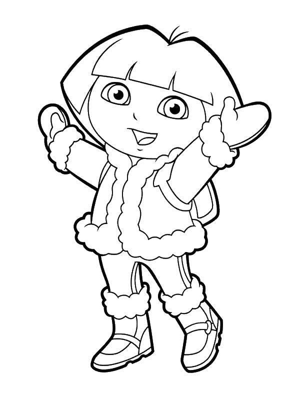 Раскраска Даша в куртке Скачать ,даша, путешественница, куртка,.  Распечатать