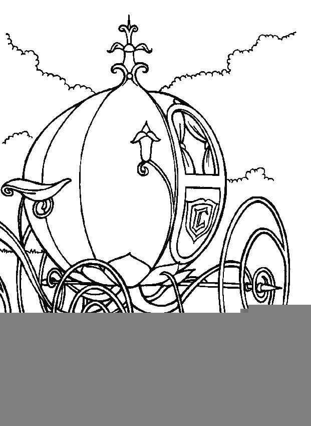 Раскраска Карета. Скачать карета, колеса.  Распечатать ,Принцесса,