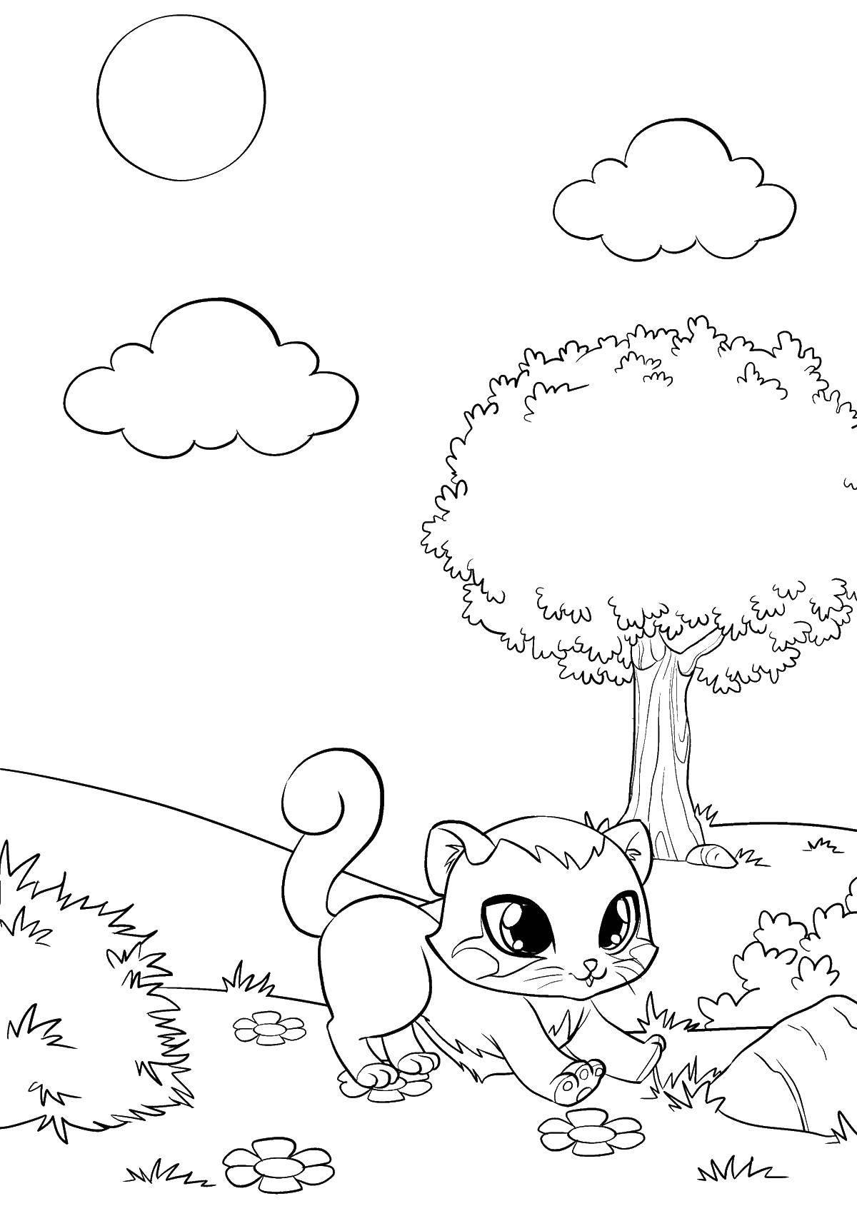 Раскраска Котенок под деревом Скачать котенок, дерево, облака.  Распечатать ,котята,