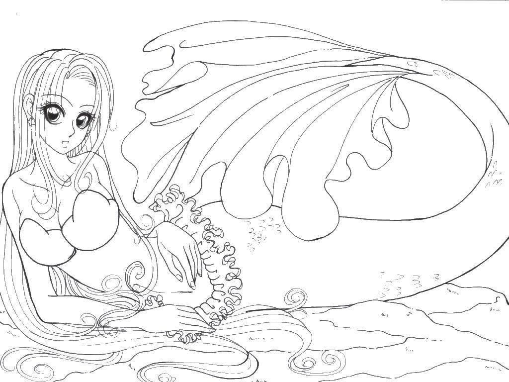 Раскраска Красивая русалка с длинными волосами Скачать русалка, длинные волосы, красивая.  Распечатать ,раскраски,