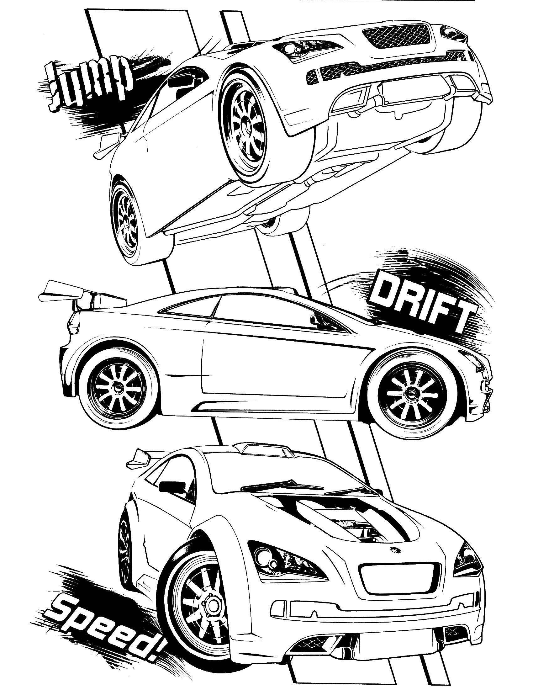 Раскраска Машины и дрифт Скачать машина, дрифт, скорость, прыжок.  Распечатать ,раскраски,