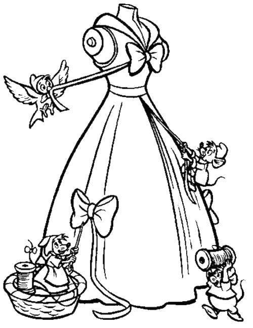 Раскраска Платье принцессы и мышата с птичками. Скачать платье, мышки, нитки, птичка.  Распечатать ,Принцесса,