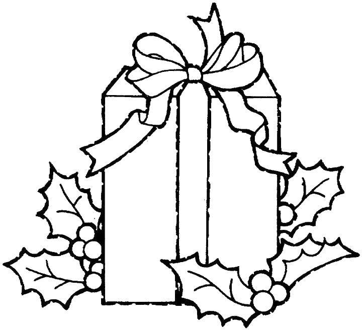 Раскраска Подарочная коробка. Скачать коробка, подарок, бант.  Распечатать ,рождество,