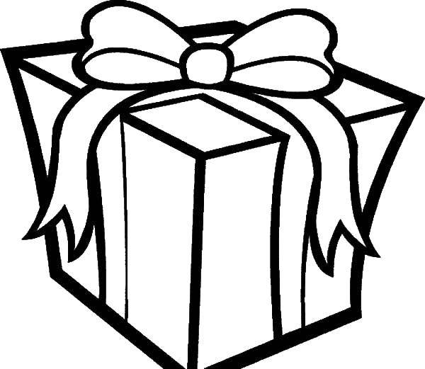 Раскраска Подарок в коробке Скачать ,коробка, подарок, бант,.  Распечатать