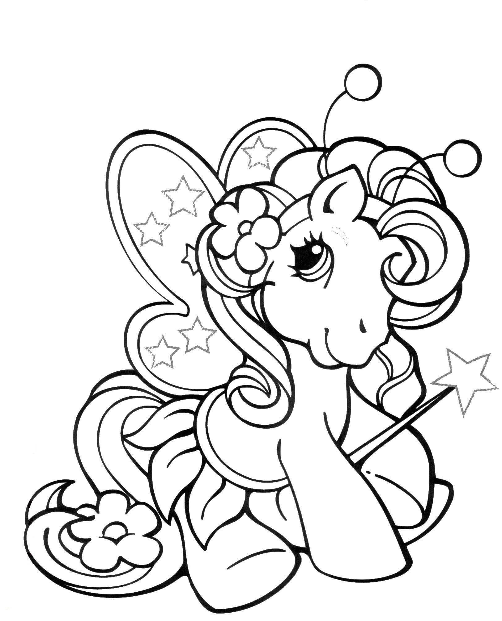 Раскраска Пони филли бабочка Скачать пони.  Распечатать ,домашние животные,
