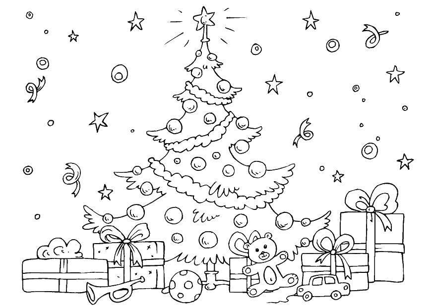Раскраска Разгар рождества Скачать Рождество, ёлочная игрушка, ёлка, подарки.  Распечатать ,рождество,
