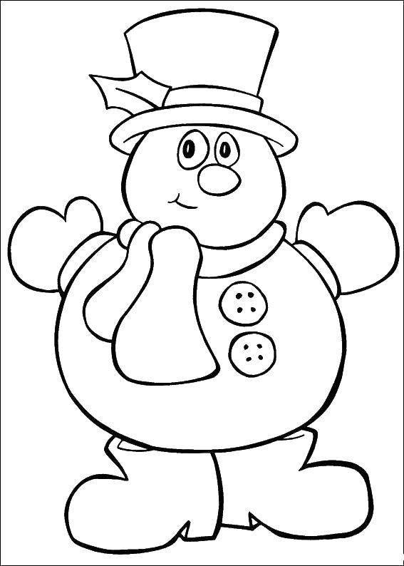 Раскраска Снеговик в сапогах. Скачать снеговик, сапоги, шляпа.  Распечатать ,рождество,