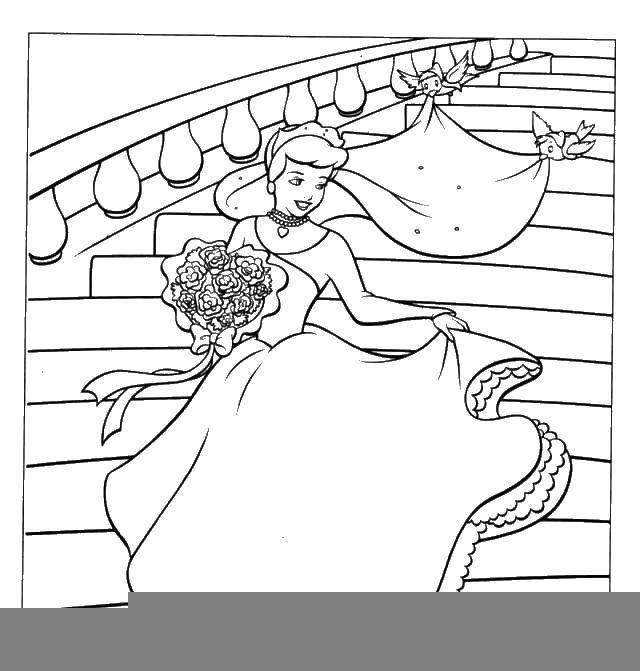 Раскраска Золушка с букетом. Скачать золушка, букет, птички.  Распечатать ,Принцесса,