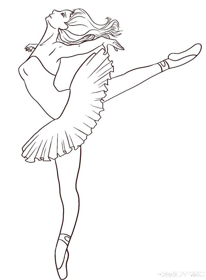 Раскраска танец Скачать ,балерина, пуанты, пачка,.  Распечатать