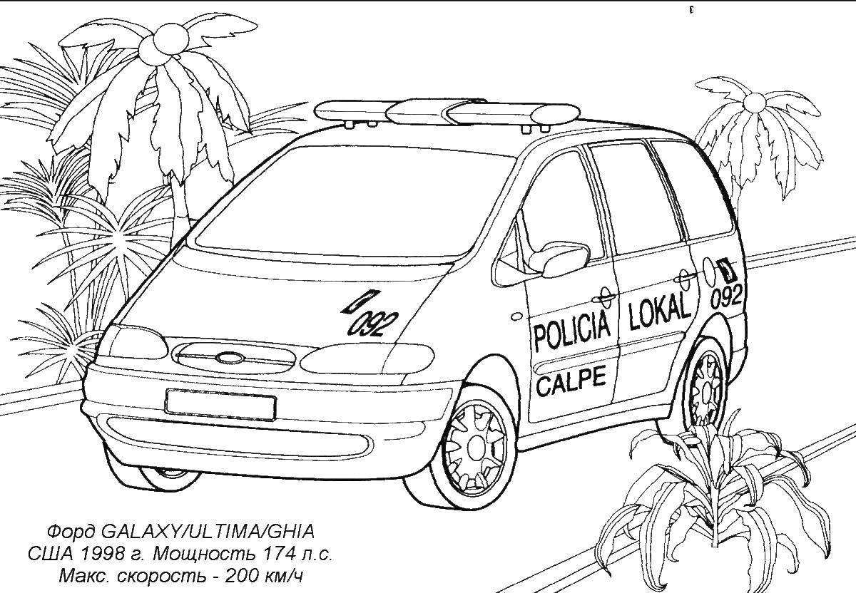 Раскраска Форд полиция Скачать Форд, машина.  Распечатать ,машины,