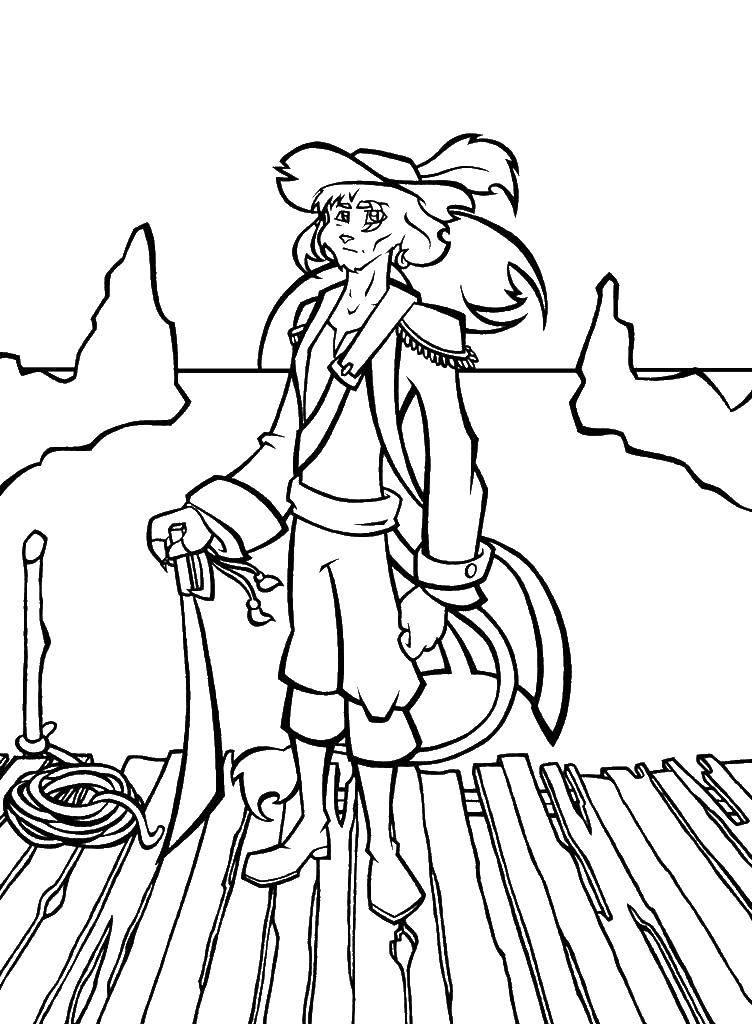 Раскраска Лев пират. Скачать пират. лев.  Распечатать ,Пираты,