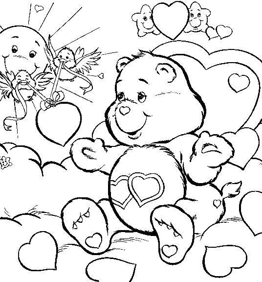 Раскраска Мишка с сердечками Скачать радостная мишка, сердечки, солнышко.  Распечатать ,радужные мишки,