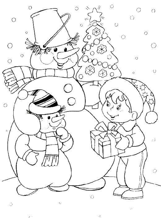 Раскраска Семья снеговика. Скачать снеговик.  Распечатать ,снеговик,