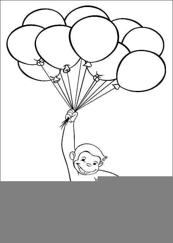Раскраска Шарики и обезьянка Скачать обезьянка, шарики.  Распечатать ,раскраски,
