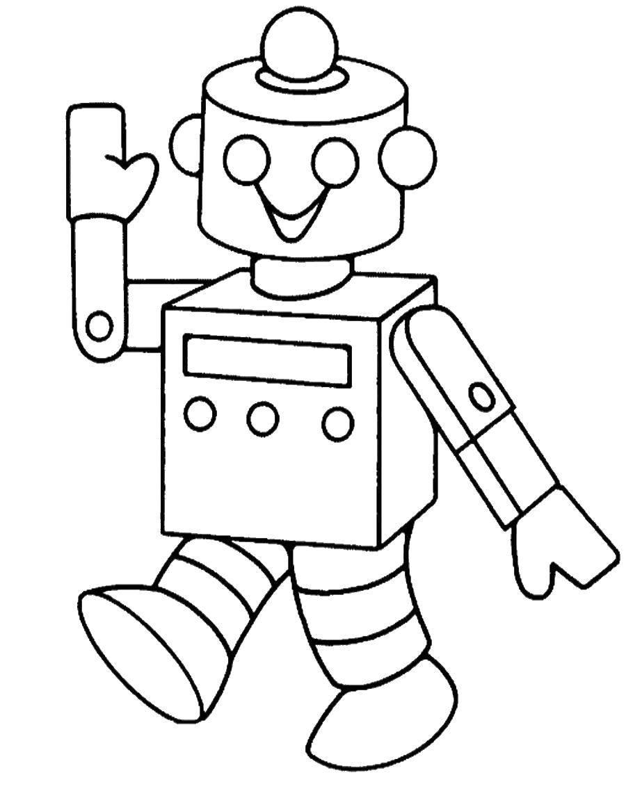 Раскраска Веселый робот Скачать робот.  Распечатать ,роботы,