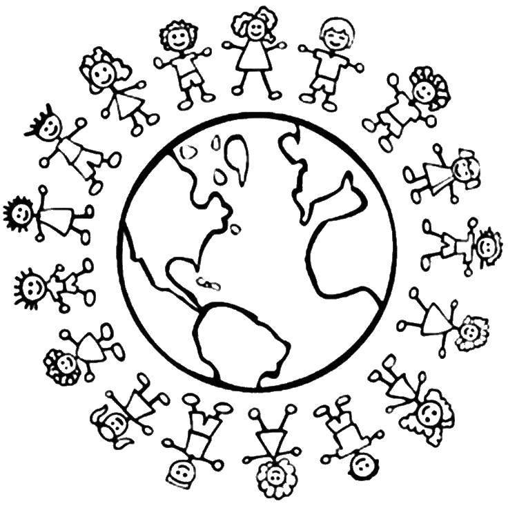 Название: Раскраска Дети всех стран мира. Категория: дети. Теги: дети, мир.