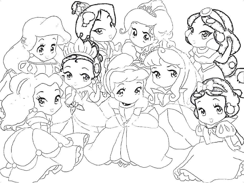 Название: Раскраска Маленькие принцессы диснея. Категория: Принцессы. Теги: Белоснежка, Жасмин, Золушка, Ариэль.