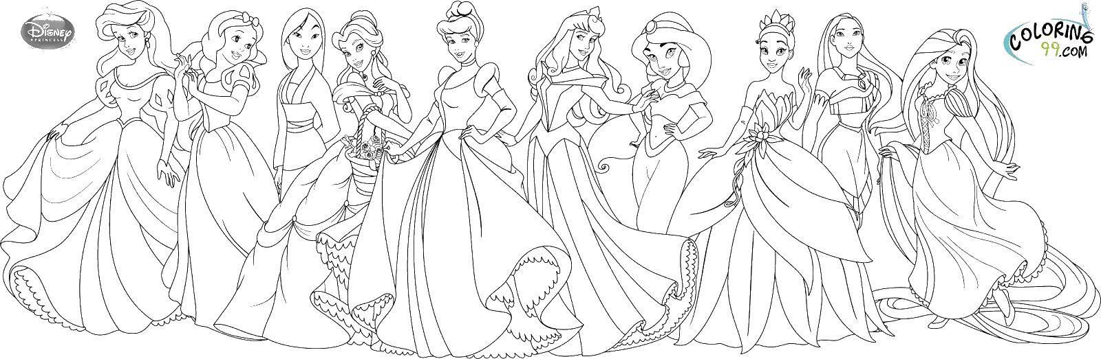 Название: Раскраска Все принцессы диснея. Категория: Принцессы. Теги: принцессы, дисней.