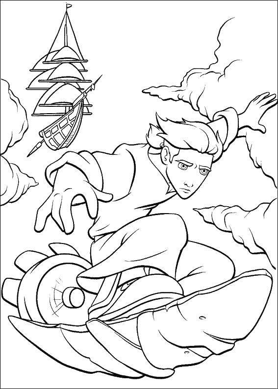 Раскраска Диснеевские раскраски Скачать русалка, хвост, бусы.  Распечатать ,раскраски,