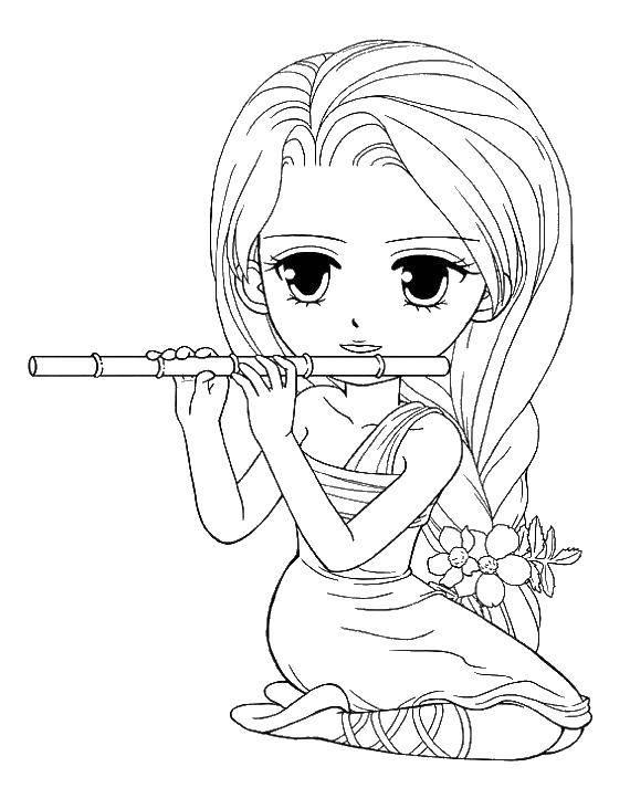 Раскраска Девушка играет на флейте Скачать девушка, флейта.  Распечатать ,Для девочек,