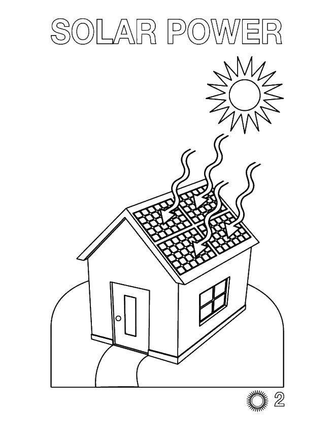 Раскраска Дом с крышей солнечными батареями Скачать дом , с крышей, солнечными батареями.  Распечатать ,электроника,