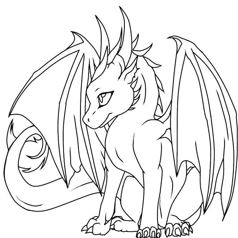 Раскраска Дракончик аниме Скачать ,дракон, аниме,.  Распечатать