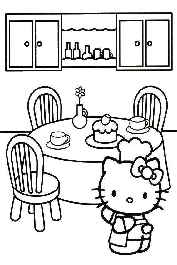 Раскраска Hello kitty и кухня Скачать Hello Kitty, стол, стулья, торт, фартук.  Распечатать ,Hello Kitty,