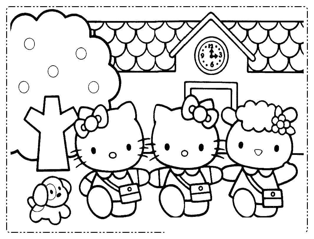 Раскраска Китти гуляет с подругами. Скачать китти, подруги.  Распечатать ,Хэллоу Китти,