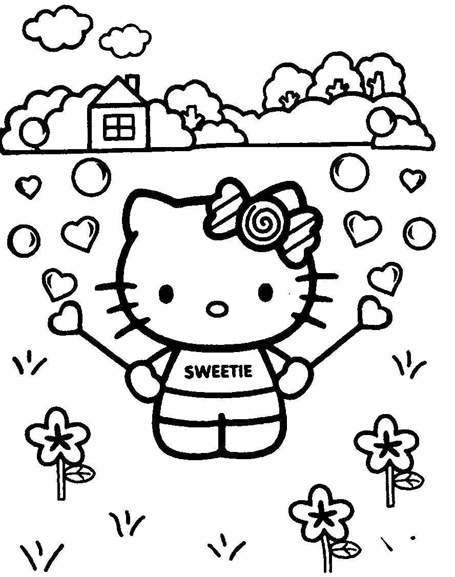 Раскраска Китти с сердечком конфетами. Скачать Китти, конфеты.  Распечатать ,Хэллоу Китти,