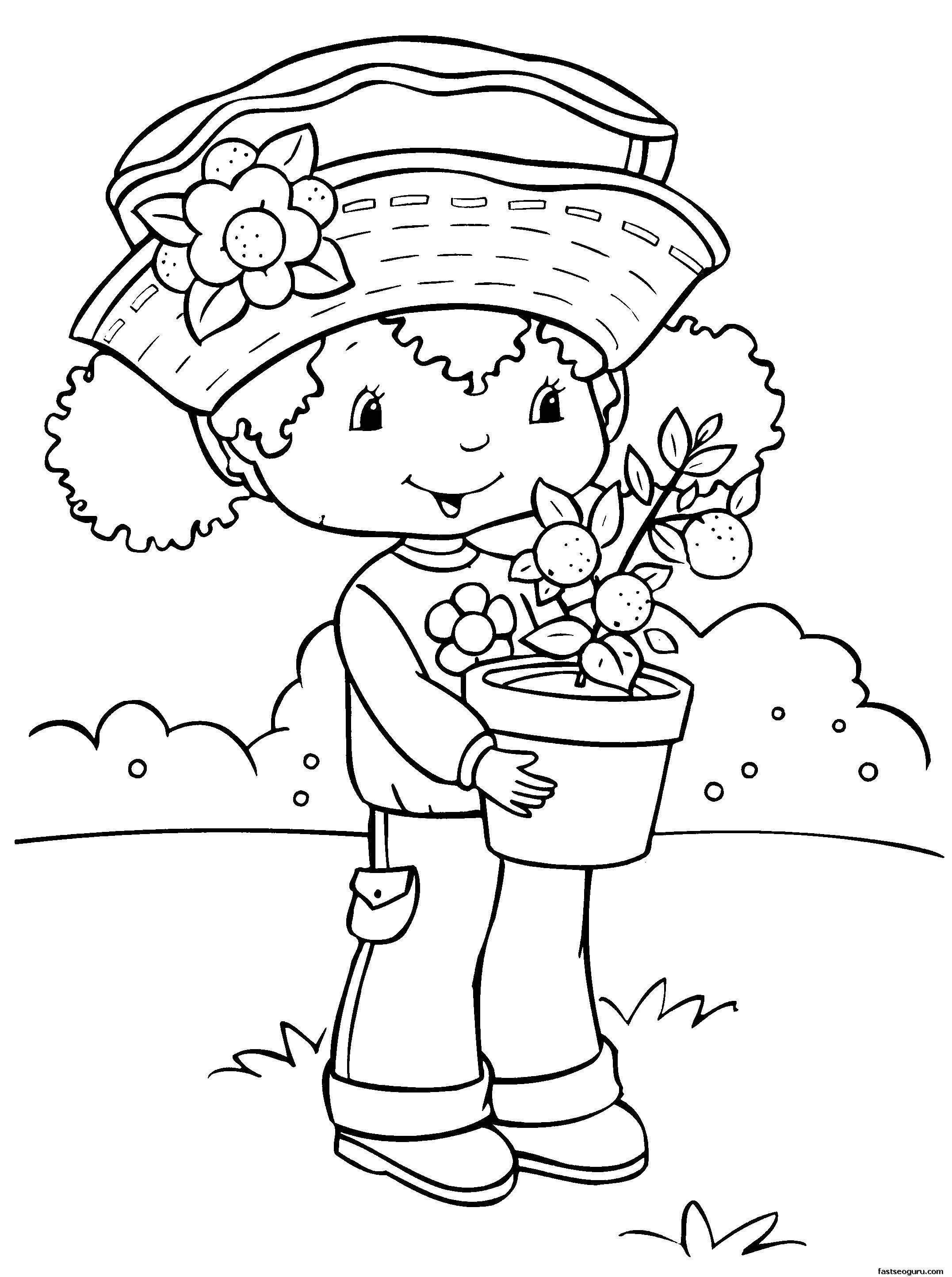 Раскраска Клубничка с горшком с цветами Скачать клубничка, цветы.  Распечатать ,Для девочек,