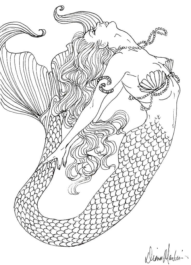 Раскраска Красивая русалка в воде Скачать русалочки, хвост, вода.  Распечатать ,Русалочка,