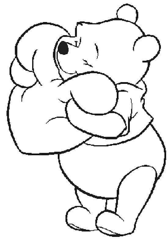 Раскраска Любимая подушка. Скачать День Святого Валентина, любовь, сердце, мишки.  Распечатать ,День святого валентина,