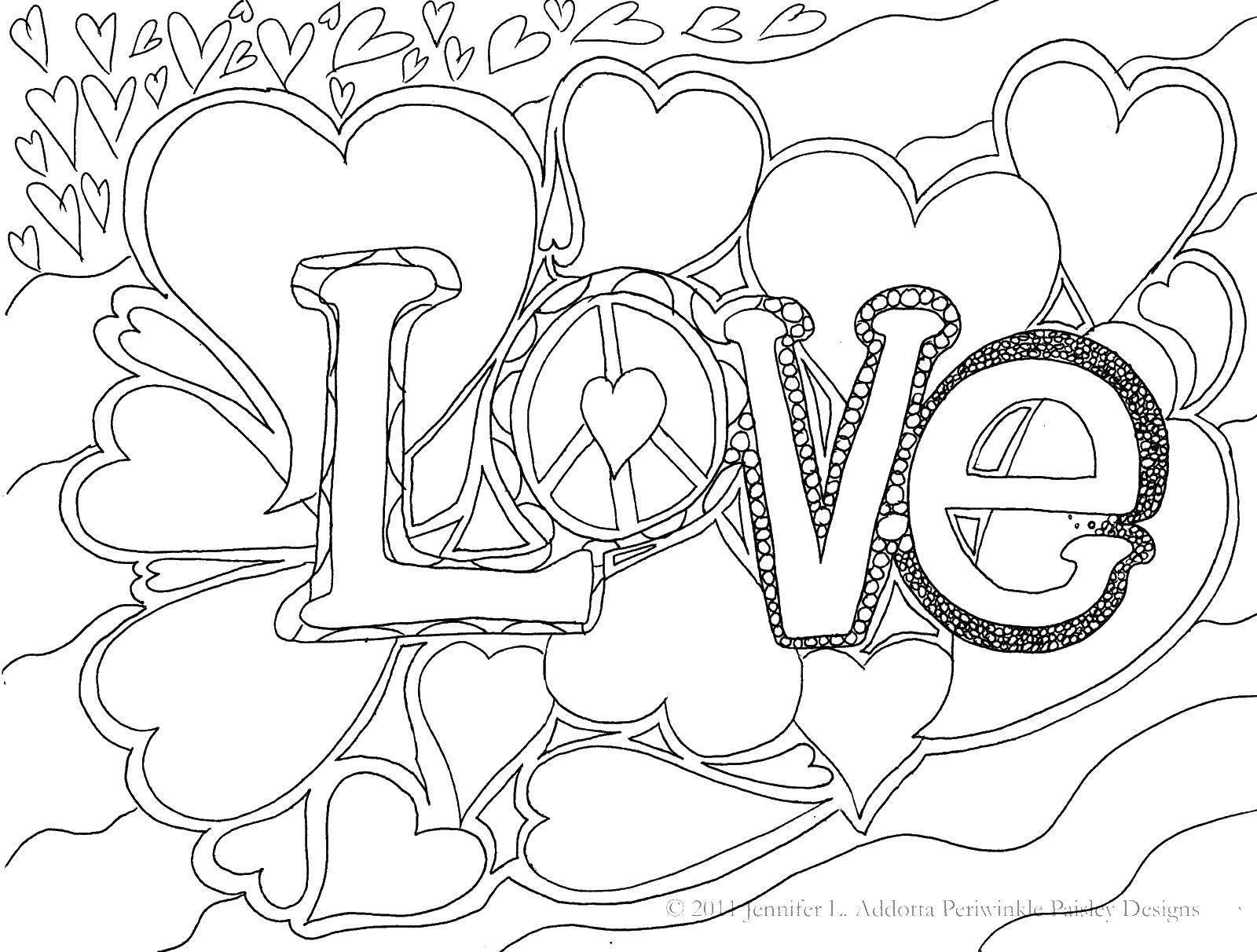 Раскраска Любовь. Скачать любовь, сердечки, надписи.  Распечатать ,Я тебя люблю,