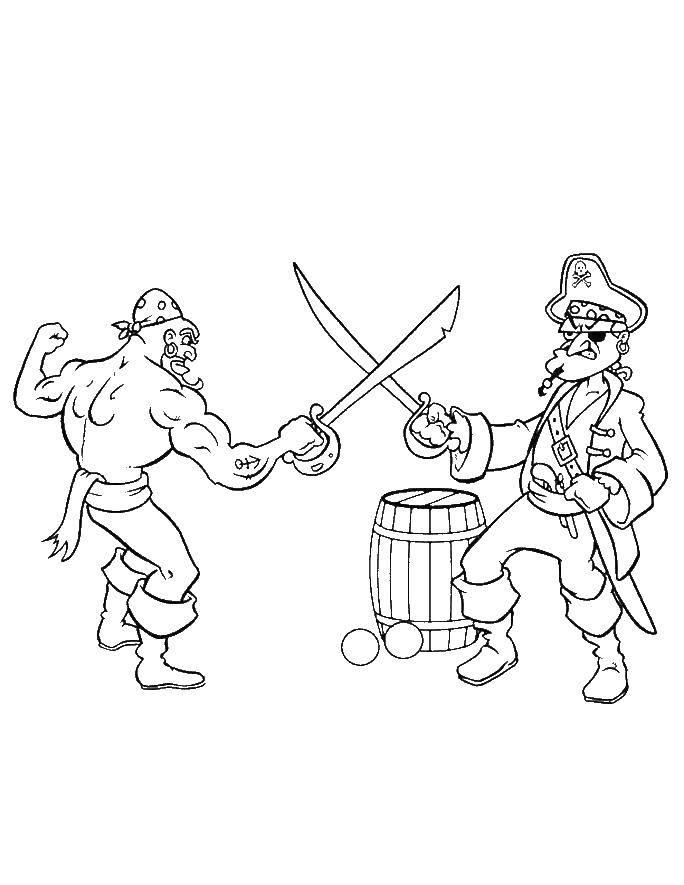 Раскраска Пираты дерутся на мечах. Скачать пираты, корабль.  Распечатать ,Пираты,