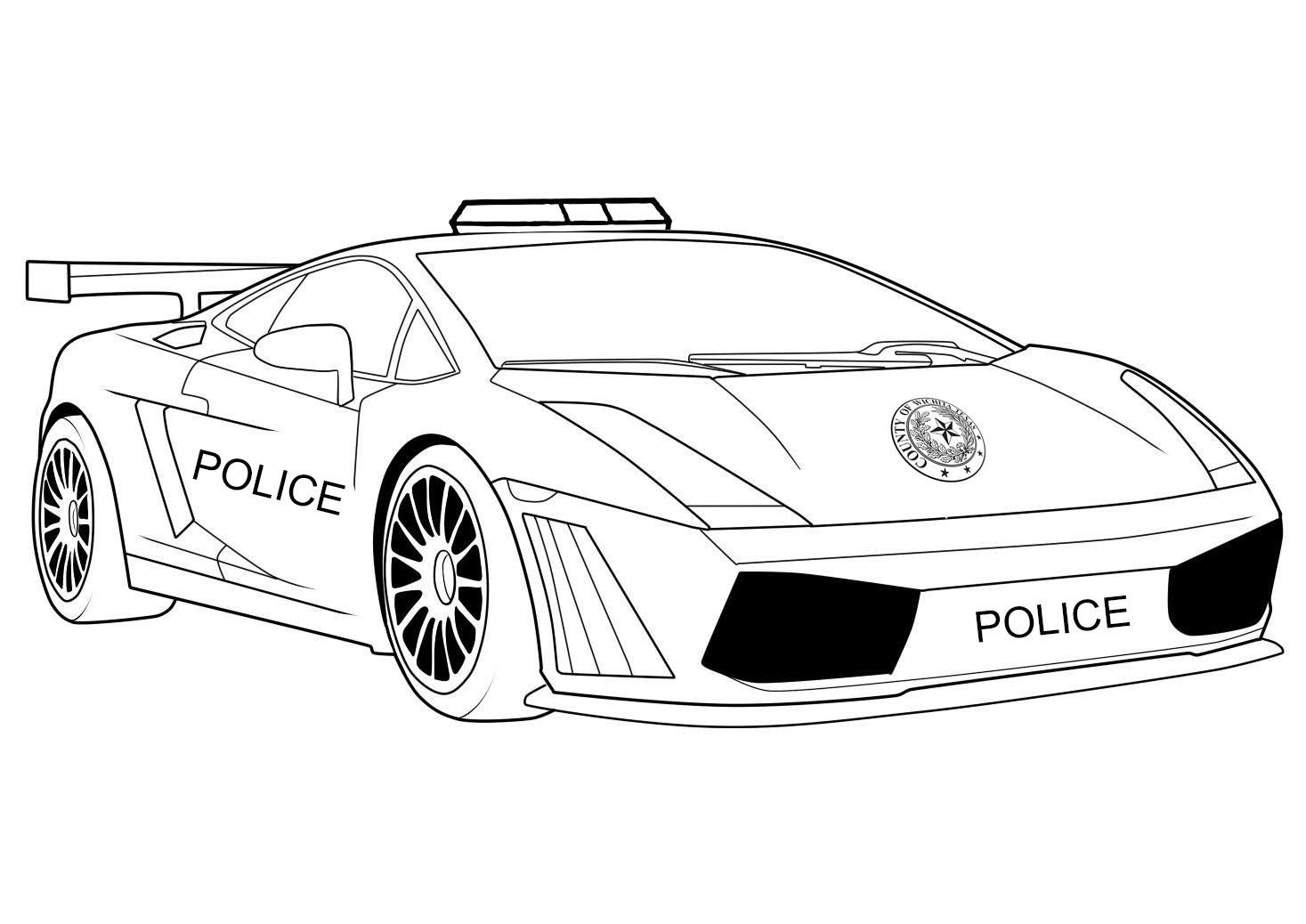 Раскраска Полицейская машина Скачать машины, транспорт, полиция.  Распечатать ,Машины,