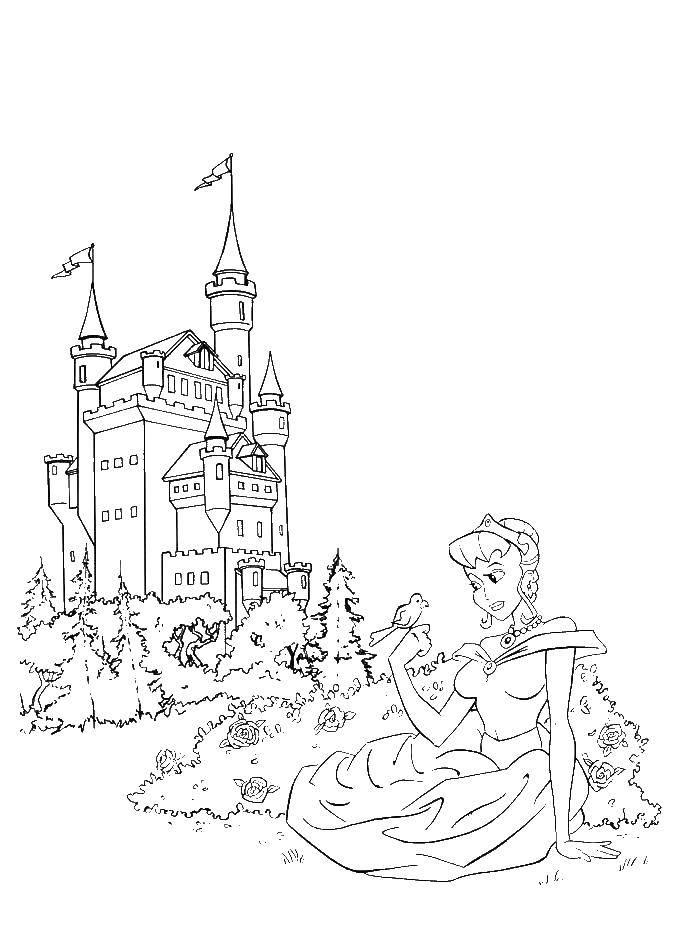 Раскраска Принцесса у замка. Скачать принцессы, замок.  Распечатать ,принцесса,