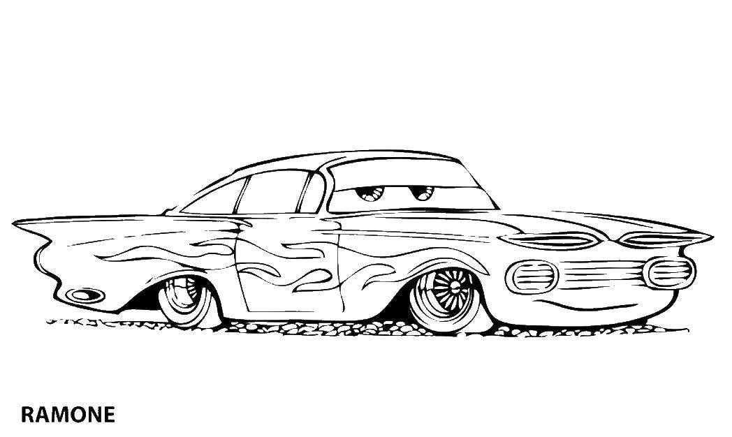 Раскраска Рамон машина impala Скачать ,Рамон, тачки,.  Распечатать
