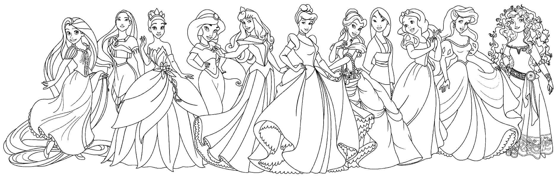 Раскраска Разные принцессы Скачать принцессы, мультфильмы, сказки.  Распечатать ,Принцессы,