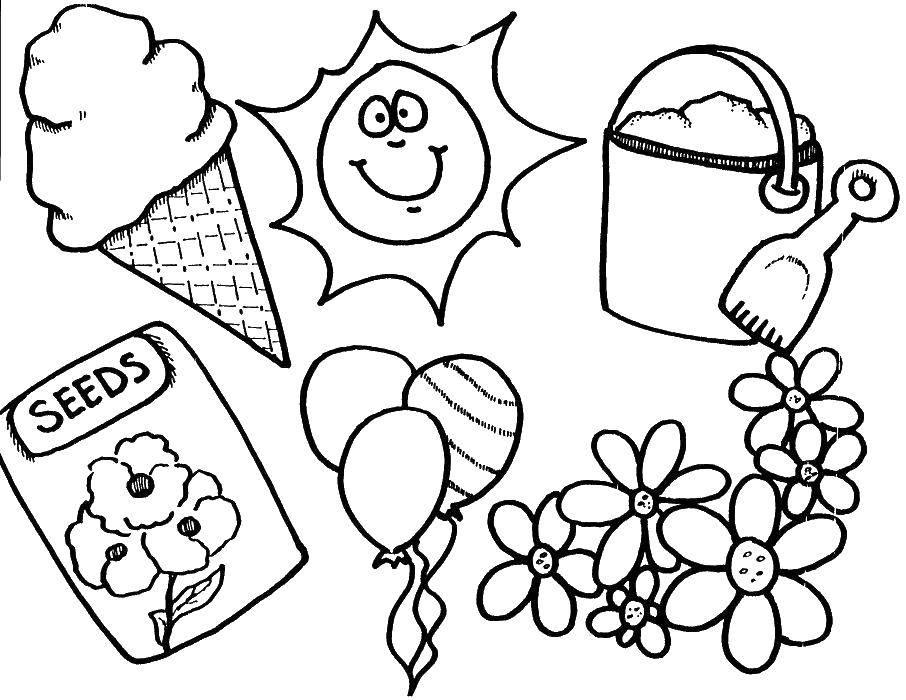Раскраска Шарики и мороженое Скачать шарики, мороженое, ведро, лопатка.  Распечатать ,Лето,