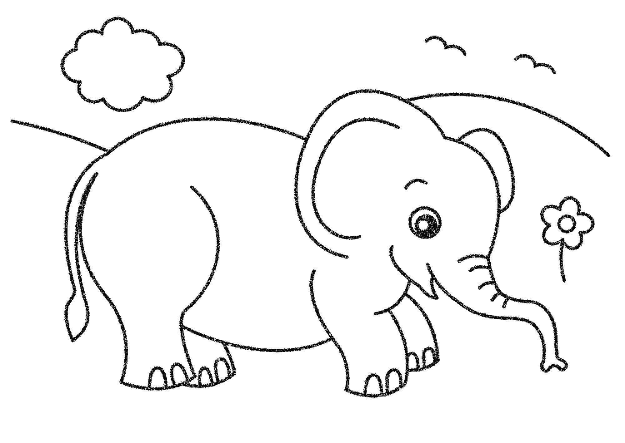Раскраска Слоник на лугу Скачать слоник, луг, цветок.  Распечатать ,Диснеевские раскраски,