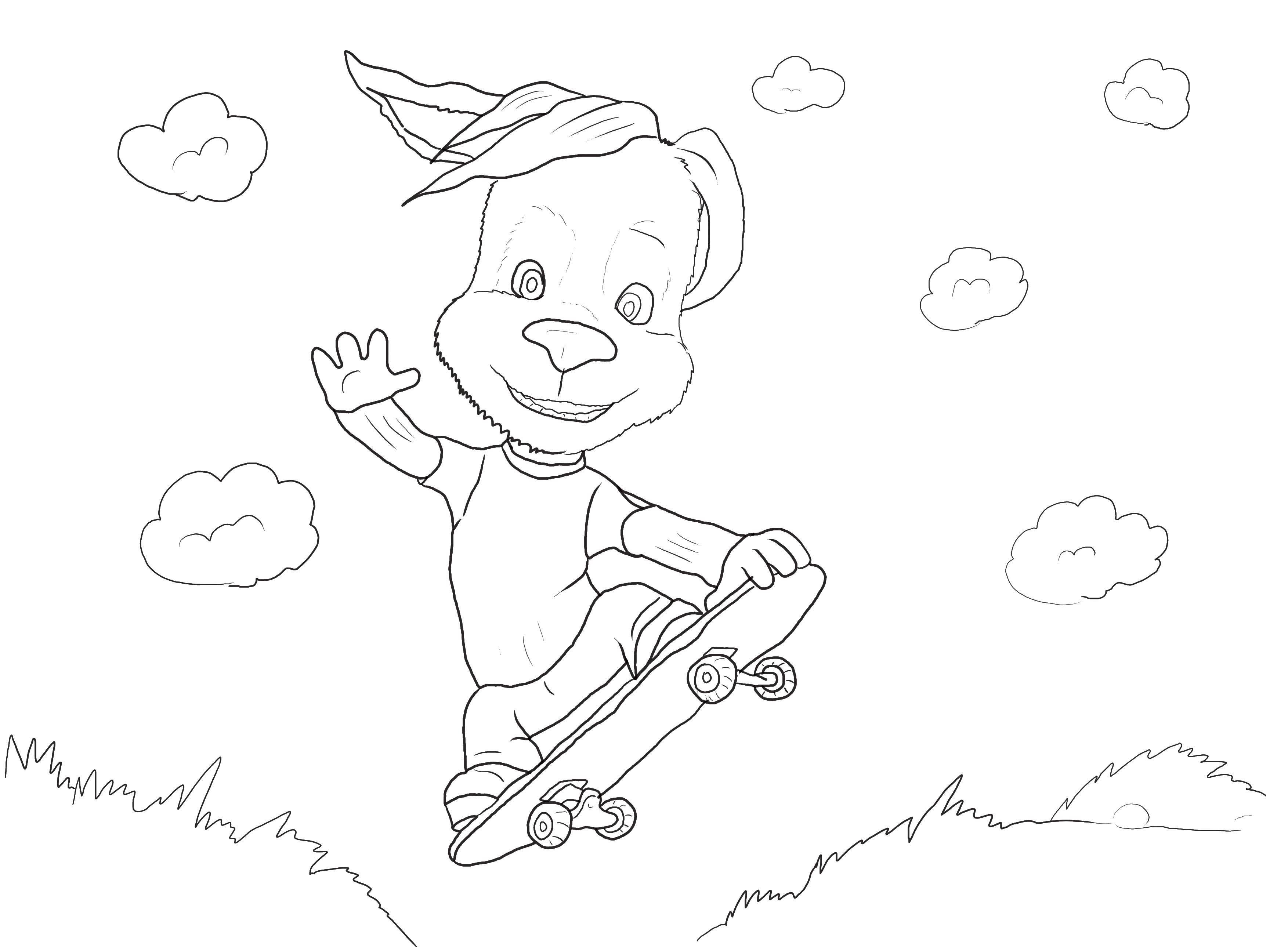 Раскраска Собачка на скейте. Скачать барбоскины, собаки, мультфильмы.  Распечатать ,Барбоскины,
