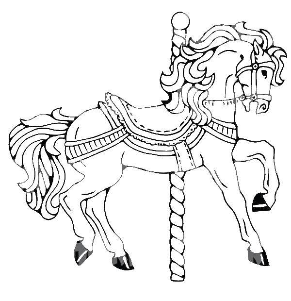 раскраски раскраска конь карусельный скачать распечатать