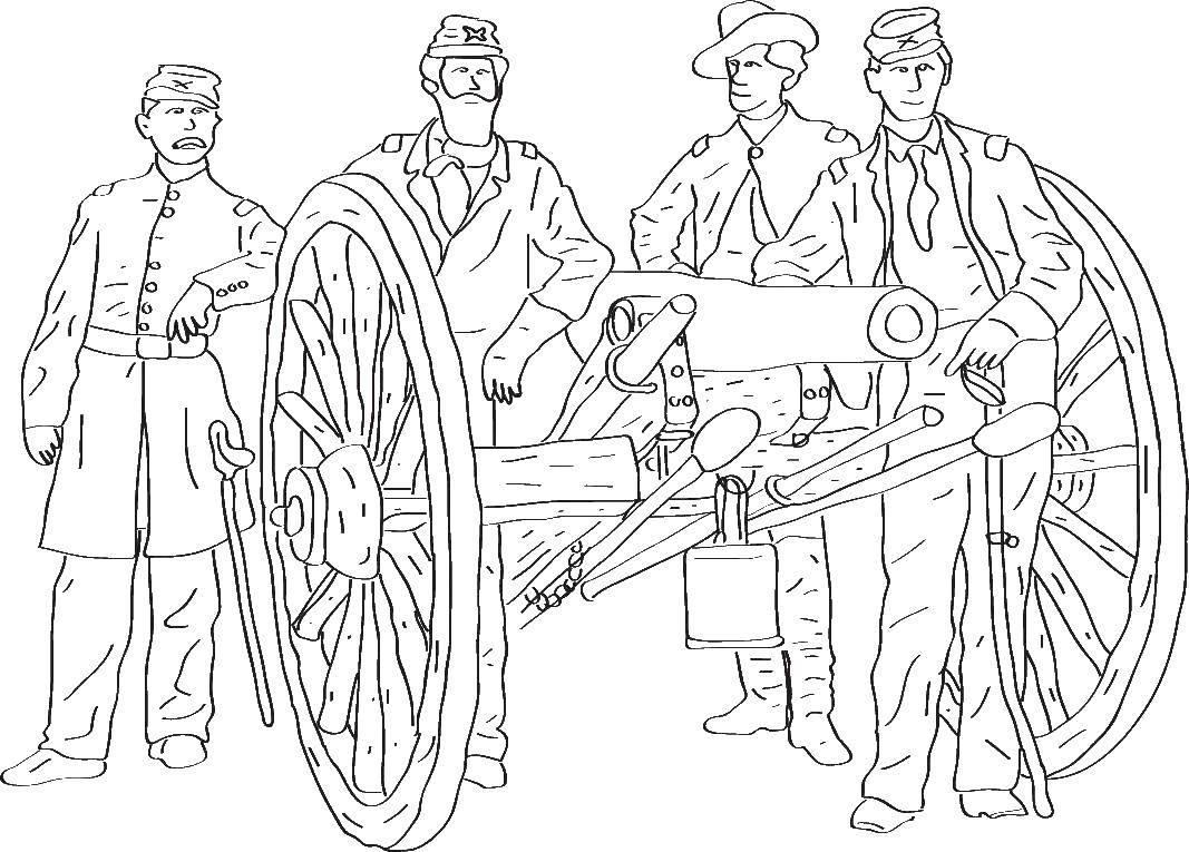 Раскраски военные, Раскраска Военные с пушкой военное.