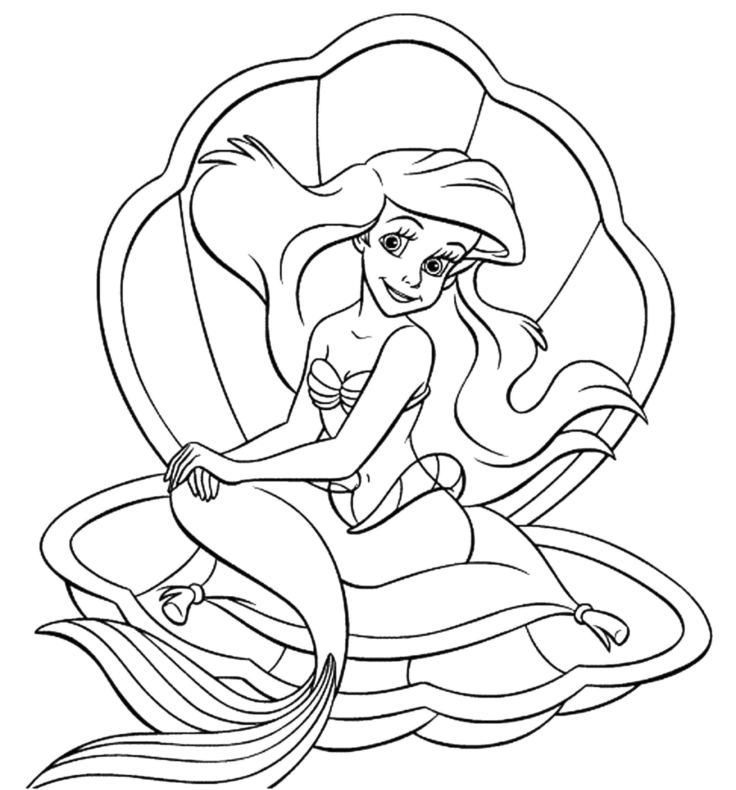Раскраска Ариэль в ракушке Скачать ,русалочка, Ариэль, хвост, ракушка,.  Распечатать