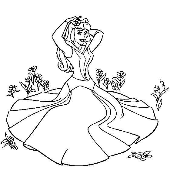 Раскраска Аврора на цветочном поле Скачать аврора, принцесса.  Распечатать ,Диснеевские раскраски,