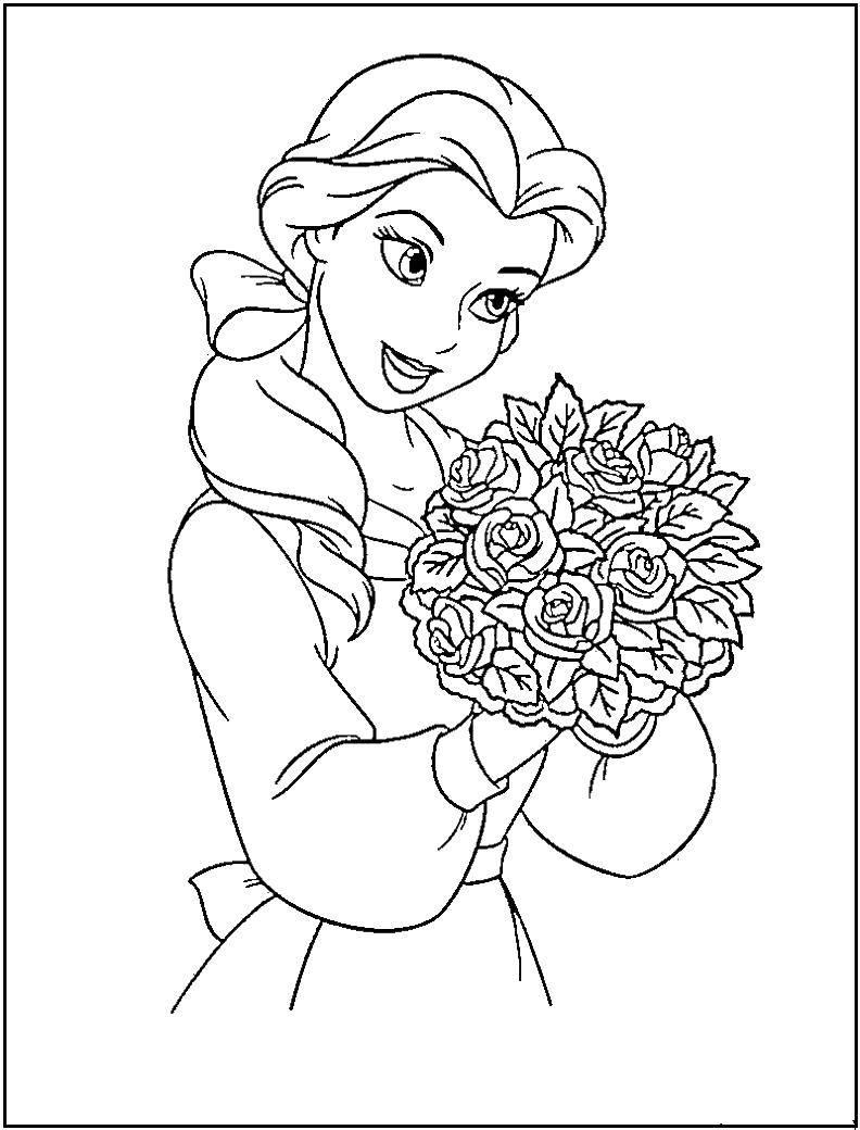 Раскраска Дель с букетом роз Скачать дисней, Бель, принцессы.  Распечатать ,Диснеевские раскраски,