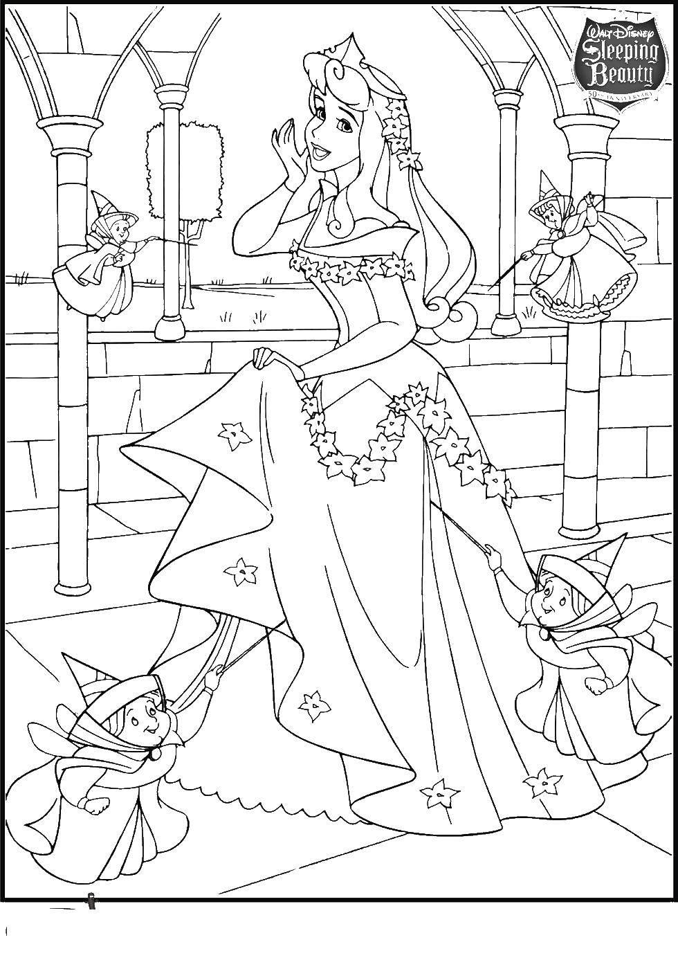Раскраска Феи помогают авроре Скачать аврора, принцесса.  Распечатать ,Диснеевские раскраски,