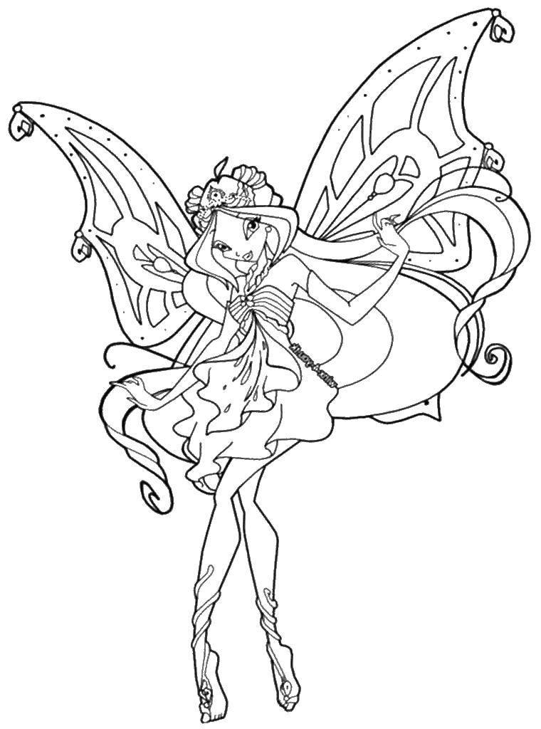 Раскраска Флора фея. Скачать Флора, фея, крылья.  Распечатать ,Винкс,