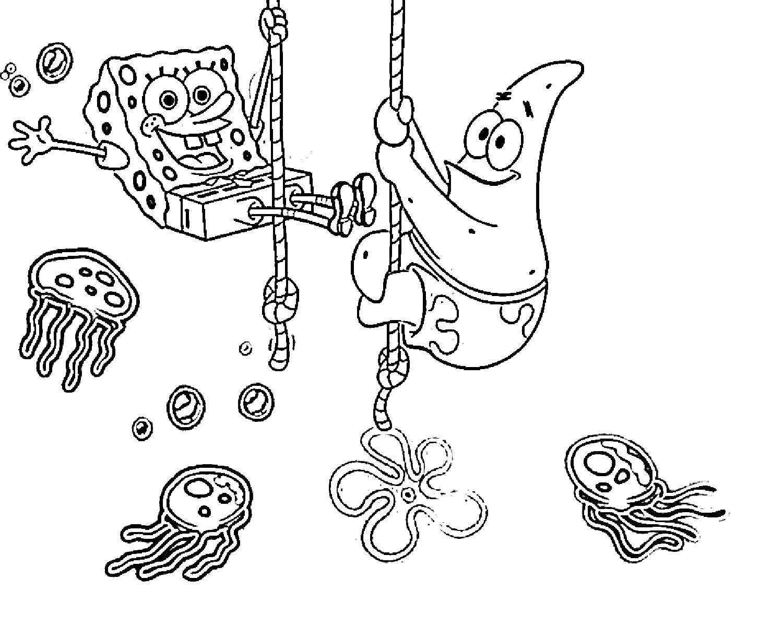 Раскраска Губка боб квадратные штаны и патрик Скачать Персонаж из мультфильма, Спанч Боб, Губка Боб, Патрик.  Распечатать ,Спанч Боб,