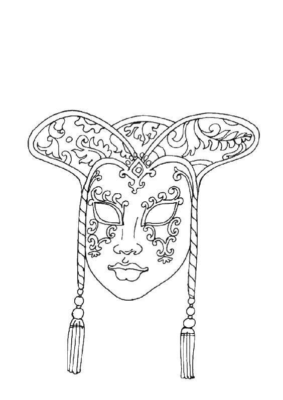 Раскраска Китайская маска Скачать маски, маска, Китай.  Распечатать ,Маски,